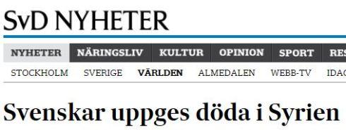 svenskar döda