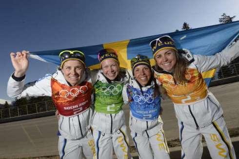 Damernas stafettlag tar guld i Sotji-OS