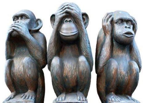 De tre aporna som inte säger något, inte ser något och inte hör något får symbolisera den svenska journalistkåren.