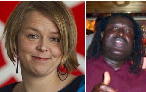 Ministerämnet Katrin Stjernfeldt Jammeh, varelsen till höger är hennes man Basiru Jammeh...