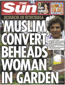 The Sun front page 05.09.14  'MUSLIM CONVERT' BEHEADS WOMAN IN GARDEN