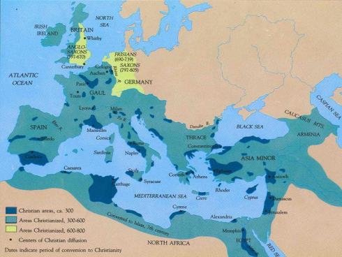 Kristendomens utbredning innan islam började härja