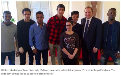 """Sveriges statsminister med ett antal """"barn"""" som anses viktigare än de på övre bilden."""