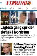 Laglösa gäng i Expressens artikel betyder på svenska laglösa invandrargäng.