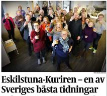 Eskilstuna-Kurirens helvita redaktion som rapporterar om hur bra det är med mångkultur.