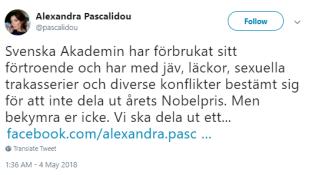 Alexandra_Pascalidou_twitter_nobelpris