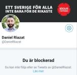 Daniel Riazat blockerad