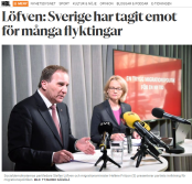 HBL_Löfven_för_många_flyktingar