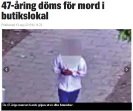 Expressen skriver om mordet utan namn på mördaren men glömmer pixla händerna.