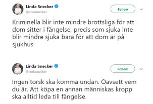 Linda Snecker (V). Pressbild