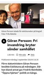 Sveriges Radio Göran Persson om fri invandring